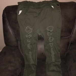 Green distressed overalls